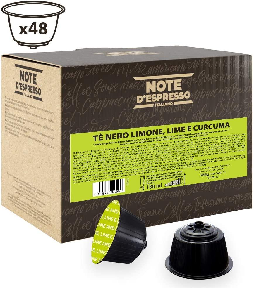 Note D'Espresso Cápsulas de Té Negro con Limón, Lima y Cúrcuma