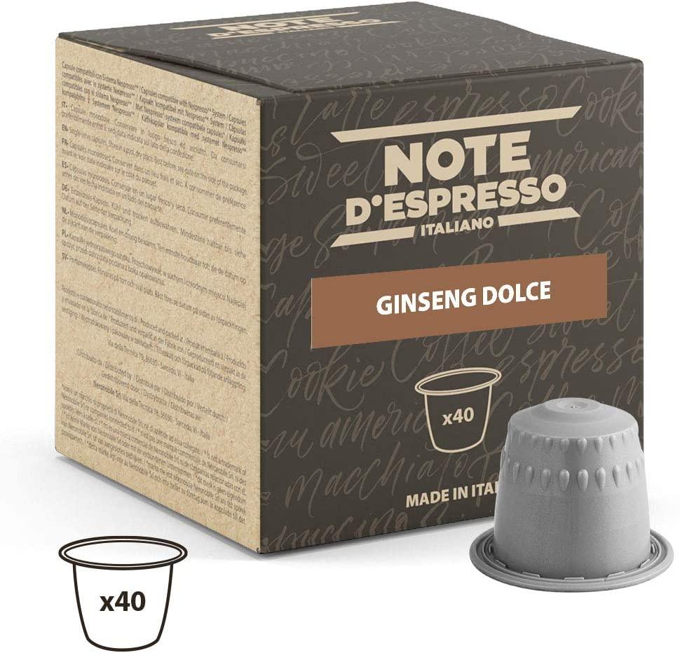 Note D'Espresso - Cápsulas de bebida instantánea de ginseng Dolce