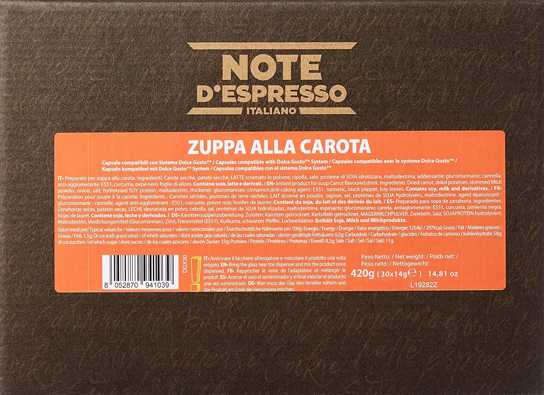 Note D'Espresso - Cápsulas de sopa de zanahoria