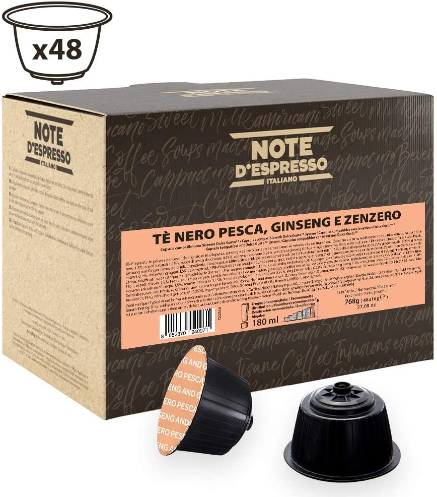 Note D'Espresso - Cápsulas de té negro con melocotón, ginseng y jengibre