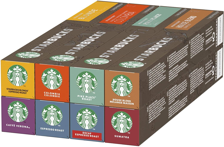 Starbucks By Nespresso Variety Pack, 8 X Tubos De 10 Cápsulas De Café